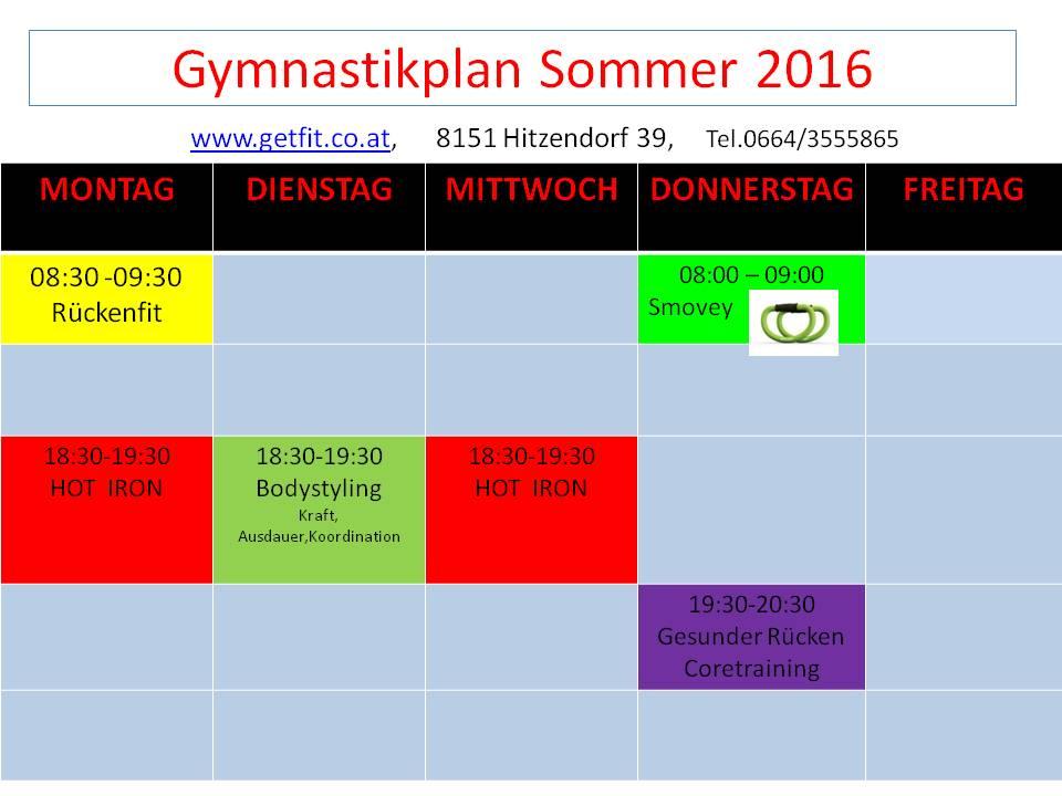 Gymnastikplan Sommer 2016