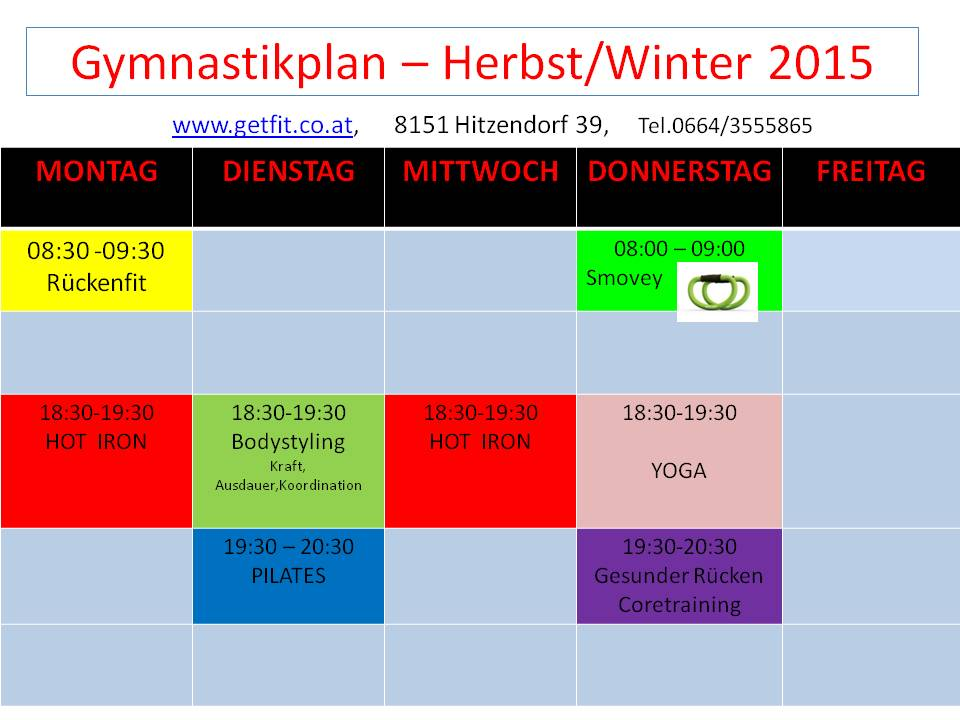 Gymnastikplan – Herbst/Winter 2015