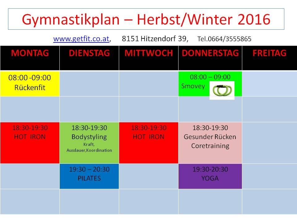 Gymnastikplan Herbst/Winter 2016